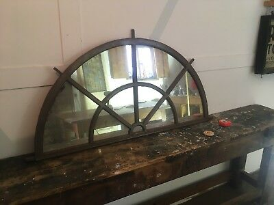 Vintage Industrial Cast Iron Arched Window Mirror.