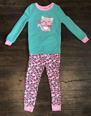 Toddler Girls Healthex Pink Cat Long Sleeve Pants Fleece Pajamas Two-Piece 4T