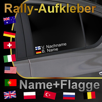 ### Autoaufkleber Name + Flagge *** Motorsport *** Rally *** DTM *** Racing ###