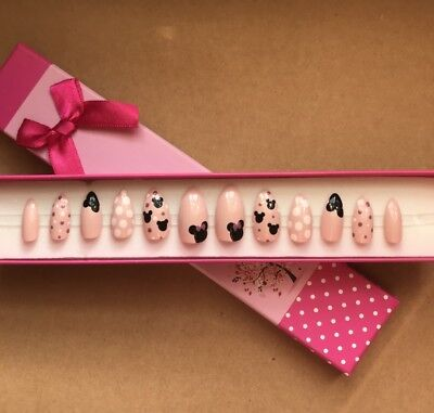 A set of Hand Painted False Nails Stiletto (or any shape) Disney Minnie Mouse UK