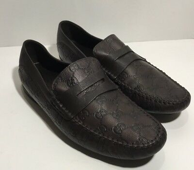 09108ee809c GUCCI Men s Brown SAN MARINO GG GUCCISSIMA Loafer Driver Shoes G 8 US 9