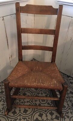 "Vintage Small Rocker Ladderback Rocking Chair Sturdy 13""h X 29""h X 17""w X 12 ""d"