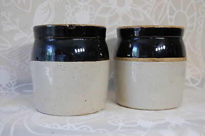 Vintage Crock Pair Small Stoneware Cream Brown 2 items each 6 inches tall