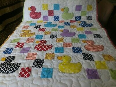 Handmade Girl Boy Appliqued Pieced 9 Patch Duck Baby Crib Quilt Personalized
