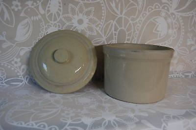 Vintage Butter Crock Small Stoneware Cream 7.5 inches tall with lid