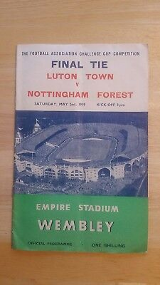 NOTTINGHAM FOREST v LUTON TOWN 1959 FA CUP FINAL FOOTBALL PROGRAMME Wembley Rare