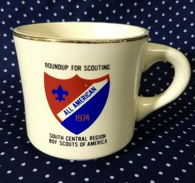 1974 Boys Scouts of America BSA Coffee Cup Mug Roundup South Central Region VTG