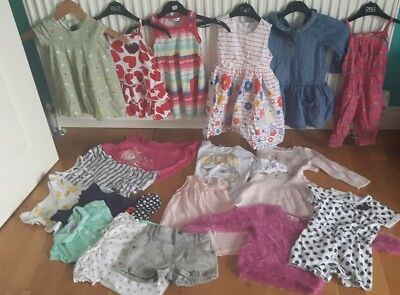 Girls 12-18 months / 1.5-2 years bundle of clothes dresses shorts tops 18 items