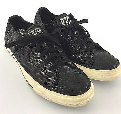 Converse One Star Black Glitter Sparkle Sneakers Shoes Womens Size 9.5 Low Top