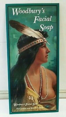 Woodbury Facial Soap Native American MEEK Co OH BIG Metal Sign 1903 art ONE ONLY
