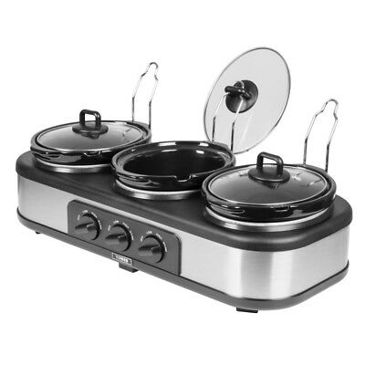 Tower T16015 Three Pot Slow Cooker with 3 Speed Settings 300W, 1.5L - Black