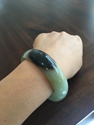 Certified Genuine Hetian Nephrite Jade Bangle Bracelet 58.5mm L484