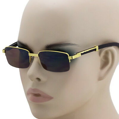 78cff15600df Retro WOOD BUFFS Vintage Style 90s Gangster Metal Frame Semi Rimless Sun  Glasses