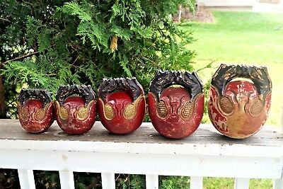 RARITY Antique Japanese Temple Carved Painted MOKUGYO Drum Bells Gong