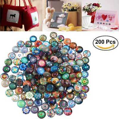 200X Round Mosaic Tiles Crafts DIY Glass Mosaic Supplies Jewelry Making Props AU