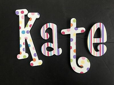 Custom Hand Painted Wood Letters Nursery Wooden Wall Name KATE Polka Dot Stripes