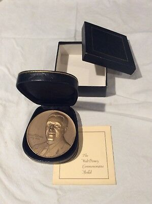 Walt Disney Commemorative Medal With Original Case, Box, And Document