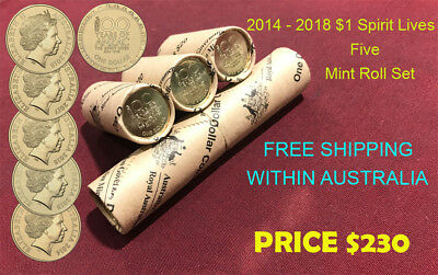 2014 - 2018 $1 Spirit Lives 100 Years of ANZAC OFFICIAL MINT ROLL SET NEW