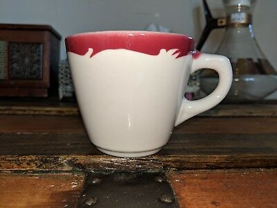 Vintage Red and White China Diner Coffee Mug Cup - Vandesca of Canada 76