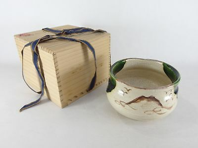 Japanese antique vintage Oribe glaze pottery Chawan tea ceremony bowl chacha