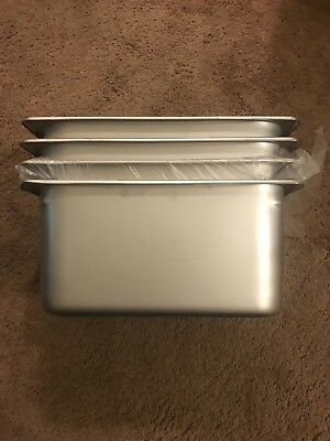 """4 pcs Stainless Steel NSF Steam Table Pan 1/2 Size 6"""" Deep 22 Gauge New"""