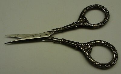 German Sterling Silver Handle Sewing Embroidery Scissors Antique Vintage