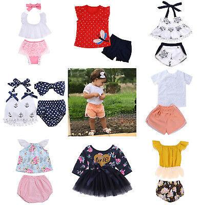 Baby Kids Girls Summer Newborn Cute Tops Shorts Breathable Outfits Set Clothes