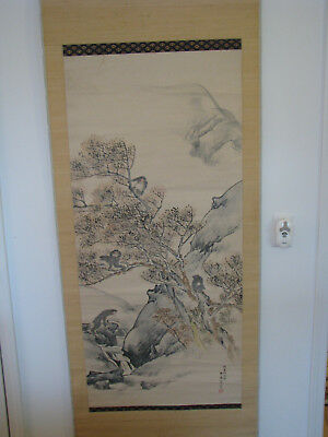 Japanese Large Hand Painted Hanging Scroll - Five Monkeys