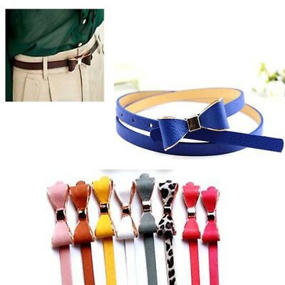 Ladies Women Fashion Bowknot Narrow Skinny Pu Leather Thin Bow Buckle Waist Belt