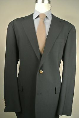 Austin Reed London 100% Worsted Wool Two Button Solid Navy Blue Blazer Size: 46L