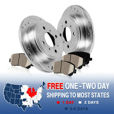Rear Drilled & Slotted Brake Rotors & Ceramic Pads 2009 2010 - 2015 Toyota Venza