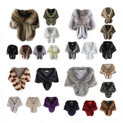 Women Winter Warm Faux Fur Long Shawl Bridal Wedding Stole Wrap Shrug Scarf Tops