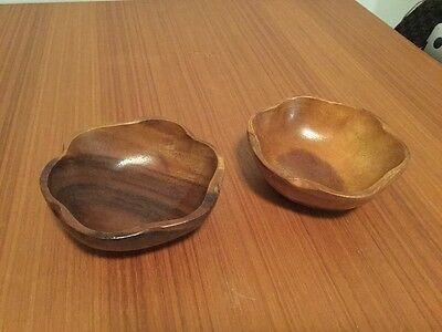 Vintage Pair of 70's wooden bowls