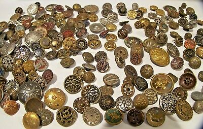 Antique Huge Lot Of 200+ All Antique Metal Buttons- Perfume-Tinted-Enamels+More