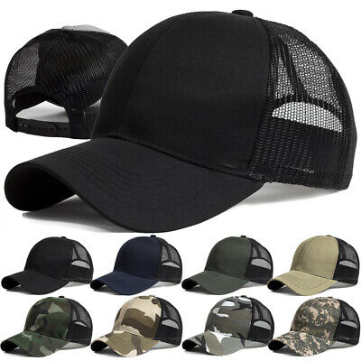 Baseball Cap Trucker Hat Snapback Solid Visor Mesh Back Plain Blank Hats Caps