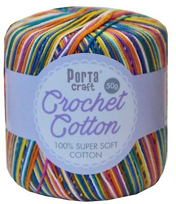 100% Super Soft Crochet Cotton 50g 3ply 145m Multi Gobstopper