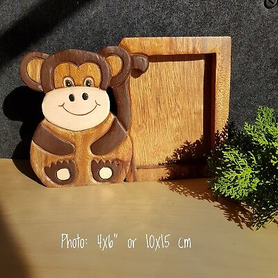 Kids Childrens Room wood Photo Frame Home Decor Picture Monkey