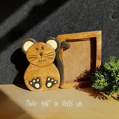 Kids Childrens Room wood Photo Frame Home Decor Picture Mouse