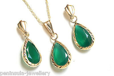9ct Gold Green Agate Pendant Necklace and Earring Set Gift Boxed Made in UK