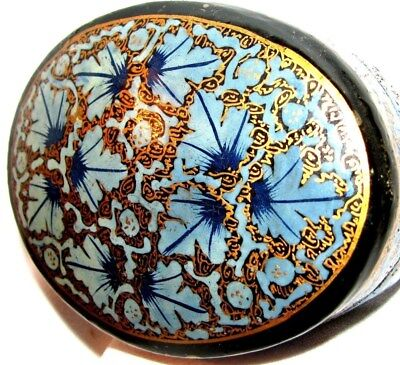 (#1) KASHMIR  PAPER MACHE OVAL BOX WITH LID - HAND CRAFTED/ PAINTED  22k GOLD GR