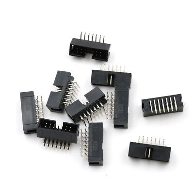 10Pcs DC3-14PL 2x7 Pins 2.54mm Pitch Right Angle Connector Pin IDC Box Headers X