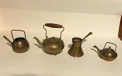 Lot Cute Brass Vintage Antique Miniature Dolls House Kettle Set x 4 Pieces