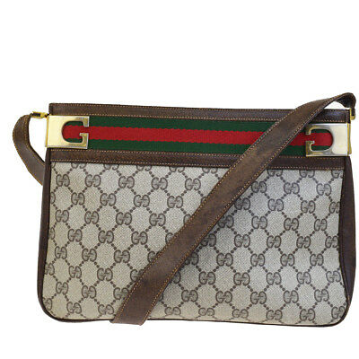 f1b85644a8d2 Authentic GUCCI GG Pattern Shelly Shoulder Bag PVC Leather Brown Italy  05BE512