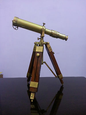 "Brass Antique Style 10"" Nautical Telescope With Wooden Tripod Marine Gift Item."