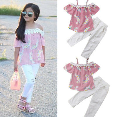 Floral Lace Outfits Clothes Baby Girl Off Shoulder Blouse Tops Hole Pants 2pcs