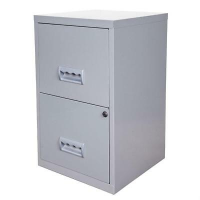 2 Drawer Lockable Filing Cabinet Organised File Safely Stored Metal Construction