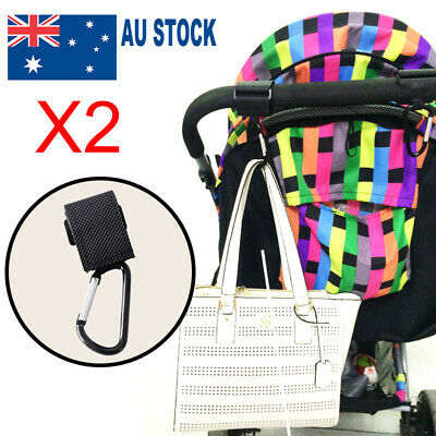 2 PC PRAM HOOK Baby Stroller Shopping Bag Clip Carrier Carabiner Large Hangers-N