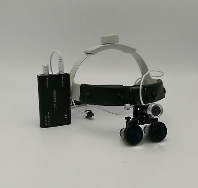 3.5X Magnification Antifog Surgical Loupes with Dental LED Headlight Black