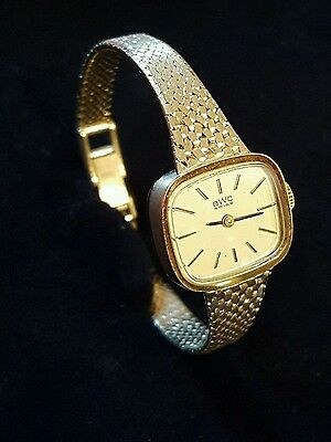Damenuhr BWC Uhrenarmband + Uhr massiv 585 Gold 28 Gramm mech.Swiss Made