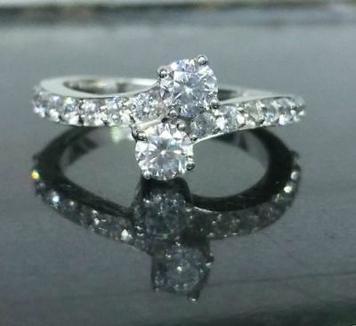 Certified 1.68Ct Round Diamond Forever Two-Stone Engagement Ring 14k White Gold
